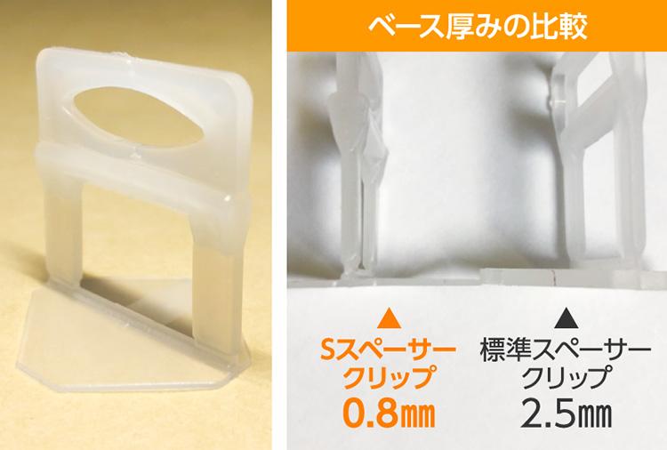 Sスペーサークリップ・内装用接着剤薄塗用タイプ ベース厚みの比較 Sスペーサークリップ 0.8㎜ 標準スペーサークリップ 2.5㎜